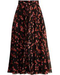 Giambattista Valli - Petal Print Silk Georgette Midi Skirt - Lyst