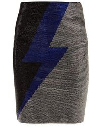 Balmain - Lightning Bolt Crystal-embellished Mini Skirt - Lyst
