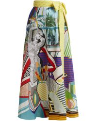 Mary Katrantzou - Camille Pop Art Print Seersucker Midi Skirt - Lyst