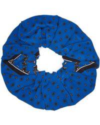 Ganni - Printed Silk Scrunchie - Lyst