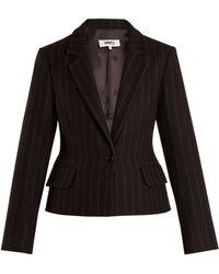 MM6 by Maison Martin Margiela - Detachable Hem Striped Wool Blend Coat - Lyst