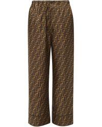 Fendi - Ff Print Silk Satin Pyjama Trousers - Lyst