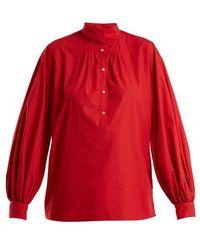 Nili Lotan - Claira Balloon-sleeved Cotton Blouse - Lyst