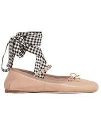 Miu Miu - Crystal-embellished Ribbon Ballet Flats - Lyst