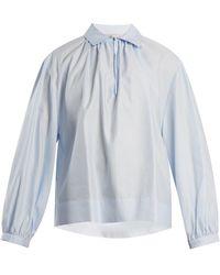 Stella McCartney - Gathered Cotton-poplin Shirt - Lyst