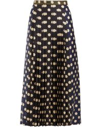 La Prestic Ouiston - Sagan Polka Dot Silk Pleated Midi Skirt - Lyst