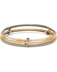 Bottega Veneta - Intrecciato Engraved Sterling Silver Bracelet - Lyst