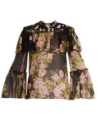Giambattista Valli - Floral-print Silk Blouse - Lyst