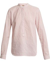 Vanessa Bruno - Mandarin Collar Striped Cotton Shirt - Lyst