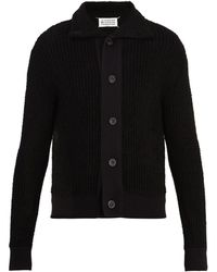 Maison Margiela | Point-collar Ribbed-knit Cardigan | Lyst
