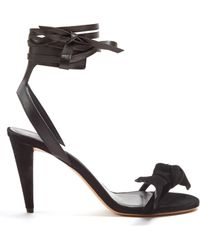 Isabel Marant   Akynn Wraparound Leather And Suede Sandals   Lyst