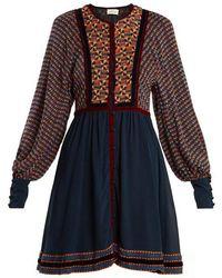 Talitha - Athena Ashanti-print Silk Dress - Lyst