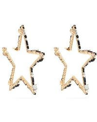 Valentino - Star-shaped Crystal Hoop Earrings - Lyst
