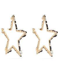 Valentino - Star-shaped Crystal Hoop Earrings - Lyst