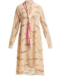 Natasha Zinko - Tie Neck Silk Georgette Dress - Lyst