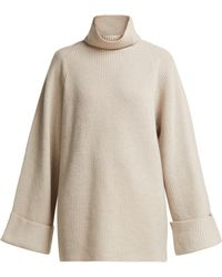 Raey Wide Sleeve Ribbed Roll Neck Wool Jumper