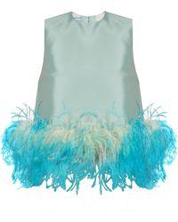Prada - Feather-trimmed Wool-blend Sleeveless Top - Lyst