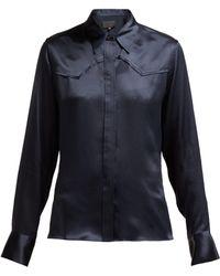 Nili Lotan - Mica Silk Satin Western Shirt - Lyst