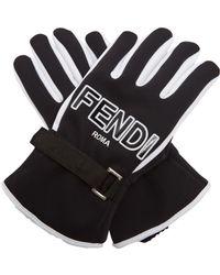 Fendi - Bi-colour Logo-print Gloves - Lyst