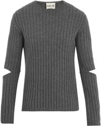 Helmut Lang - Cutout-sleeve Ribbed Wool Jumper - Lyst