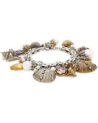 Alexander McQueen - Crystal And Faux Peal Shell Charm Bracelet - Lyst