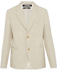 Jacquemus - Single Breasted Linen Blend Blazer - Lyst