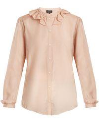 A.P.C. | Josephine Ruffled-collar Cotton-blend Blouse | Lyst