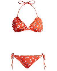 Ganni - Columbine Floral Print Bikini - Lyst