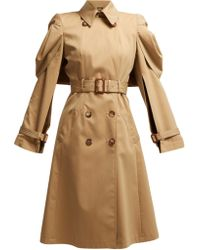 Alexander McQueen - Shell Sleeve Cotton Gabardine Trench Coat - Lyst