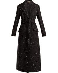 Miu Miu - Crystal Embellished Single Breasted Wool Coat - Lyst