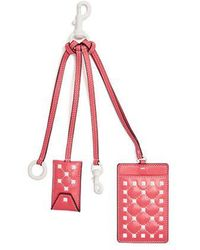 Valentino - - Free Rockstud Leather Cardholder Key Ring - Womens - Pink White - Lyst