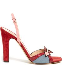 Valentino - Love Blade Suede And Leather Sandals - Lyst