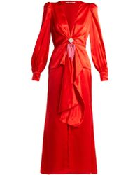 Alessandra Rich - V Neck Crystal Embellished Silk Satin Dress - Lyst