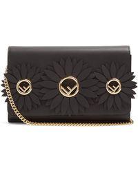 Fendi - Flower And Logo-embellished Leather Clutch - Lyst
