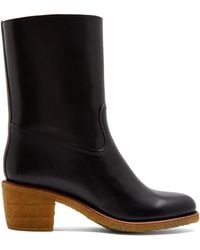 A.P.C. | Paz Block-heel Leather Boots | Lyst