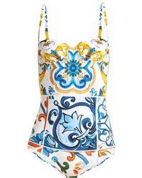Dolce & Gabbana - Majolica-print Swimsuit - Lyst