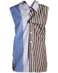 Marni   Sleeveless Contrast-panel Striped Shirt   Lyst