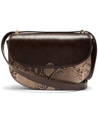 A.P.C. - Genève Snake Print Leather Cross Body Bag - Lyst