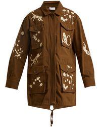 RED Valentino - Monkey-print Cotton Military Jacket - Lyst