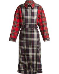 Burberry - Two Tone Tartan Cotton Trench Coat - Lyst