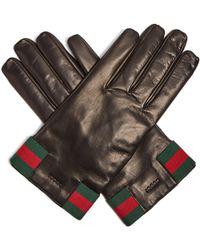 Gucci - Gants en cuir à plaque ornée du logo - Lyst