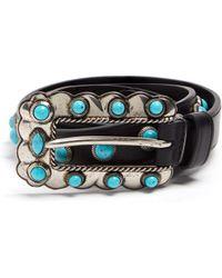 Prada - Turquoise Stone Embellished Skinny Leather Belt - Lyst
