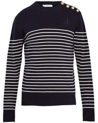 J.W. Anderson | Button-detail Striped Wool Sweater | Lyst