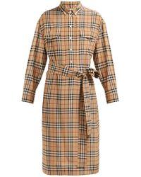 Burberry - House Check Silk Shirtdress - Lyst