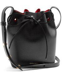 Mansur Gavriel - Red-lined Mini Mini Leather Bucket Bag - Lyst