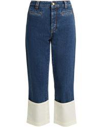 Loewe - High-rise Contrast-cuff Fisherman Jeans - Lyst