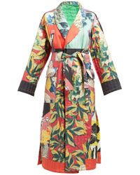 Etro - Floral Print Quilted Silk Twill Kimono Coat - Lyst