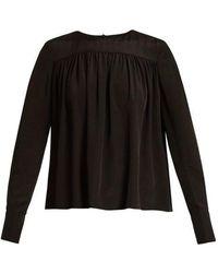 Diane von Furstenberg - Gathered Double Cuff Silk Georgette Blouse - Lyst