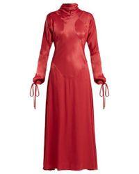 Vivienne Westwood Anglomania - - High Neck Long Sleeve Satin Dress - Womens - Dark Pink - Lyst
