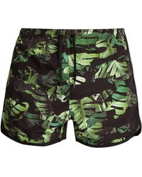 Neil Barrett - Camouflage Palm Leaf Print Swim Shorts - Lyst